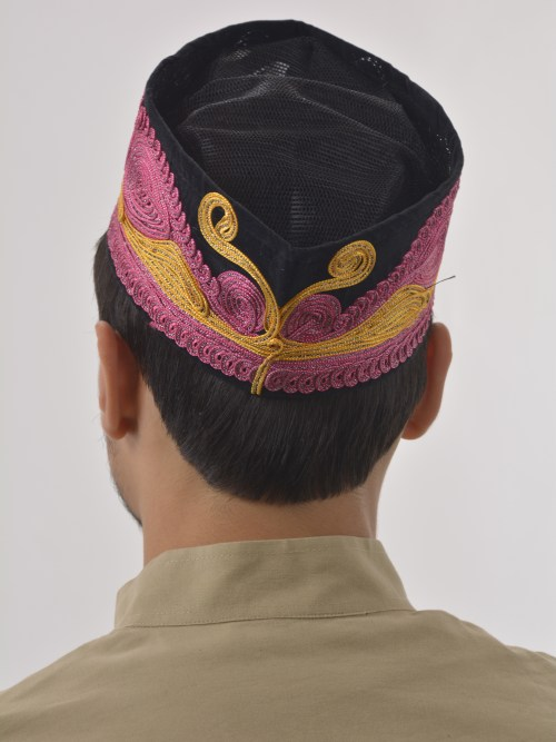 Pink and Gold Swirls Embroidered Mesh Kufi ME742
