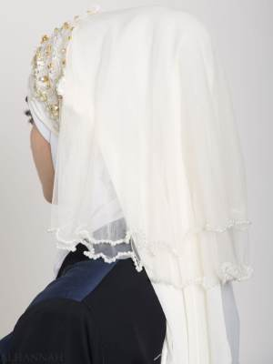 Ivory Pearled Bridal Hijab hi2152 (2)
