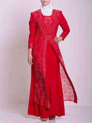Laminado floral texturizado Jeweled Abaya ab702 (10)
