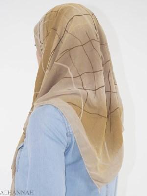 Brillo rayado Infused Cuadrado Hijab HI2148 (2)