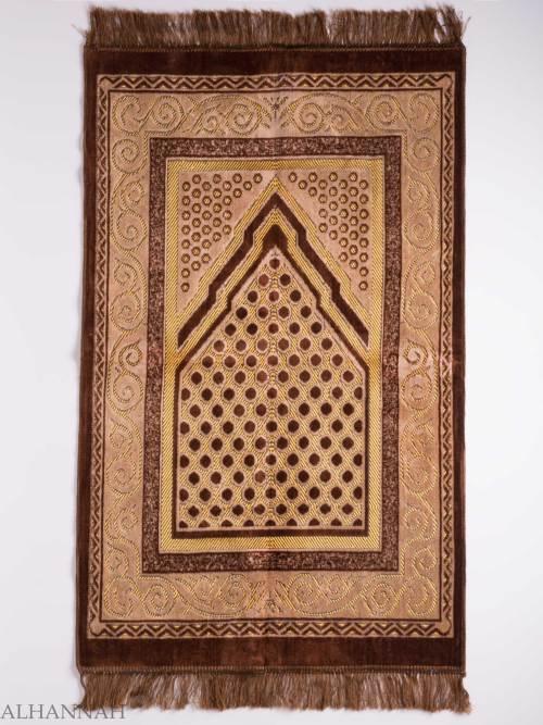 Turkish Prayer Rug Brown Arrowed Polka Dot Motif ii1137