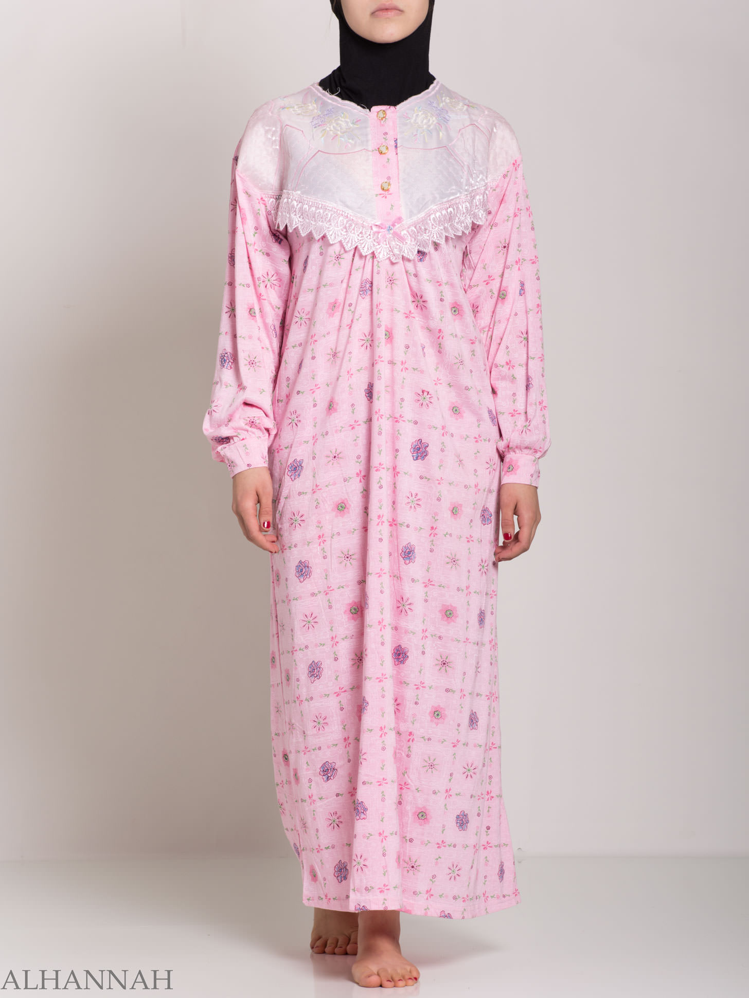 Checkered Floral Embroidered Cotton Nightgown | NG107 -