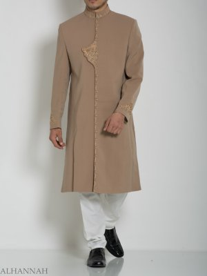 Adornado Flap Plain Jacquard Designer Sherwani ME759 (2)