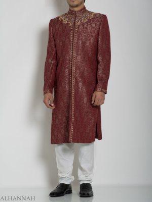 Red Embellecido Armario Jacquard Diseñador Sherwani ME762 (4)
