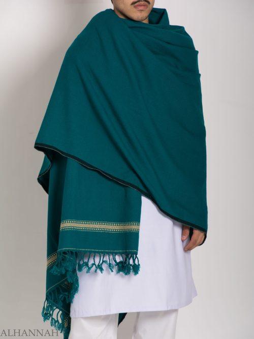 Tasseled Wool Shawl with Ethnic Diamond Pattern ME750 (1)
