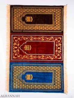 Kaaba Motif Tri-Color Triple Prayer Rug ii1160
