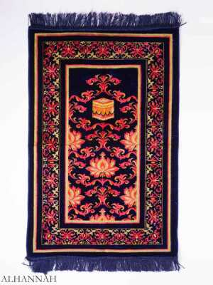 Turkish Prayer Rug Navy Floral Kaaba Motif ii1145