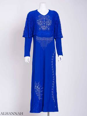 Embellished Rhinestone Laced Shoulder Abaya ab713 (1)