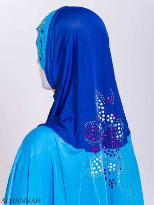 Floral Rhinestone Sequined Shoulder Length Al-Amira Hijab hi2169 (4)
