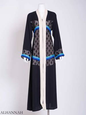 Netted Diamond Sea Breeze Abaya ab719 (1)