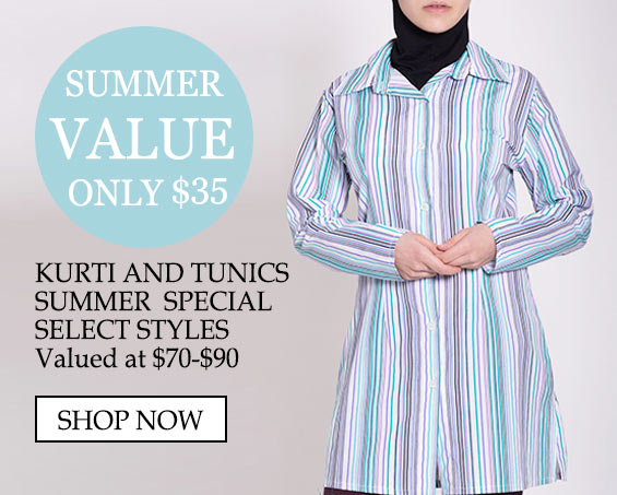 Womens Muslim Islamic Clothing Kurti - Value only $35 Kurti and Tunics Summer Special Select Styles Valued at $70-$90