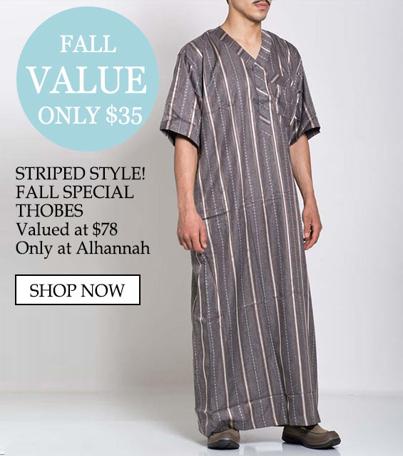 Only $35 Striped Style Fall Special Thobes Valued at $78 only at alhannah