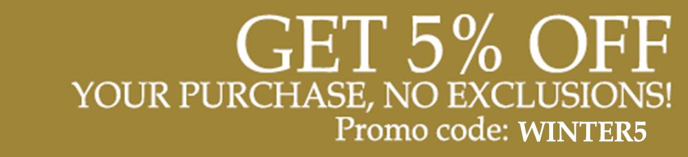 Obtenga 5 por ciento de su compra, ¡sin exclusiones! Código de promoción winter5