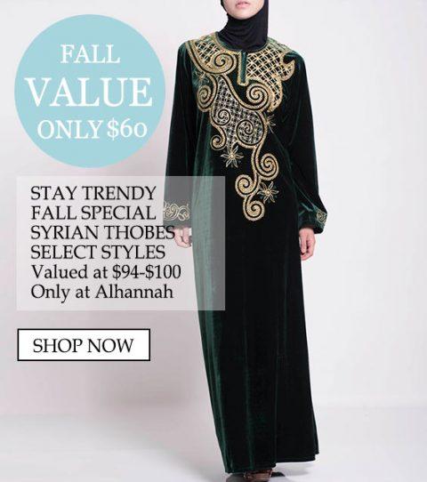 Bare $ 60 blir trendy, fall spesielle syriske thobes, velg stiler verdsatt til $ 94- $ 100 bare hos Alhannah