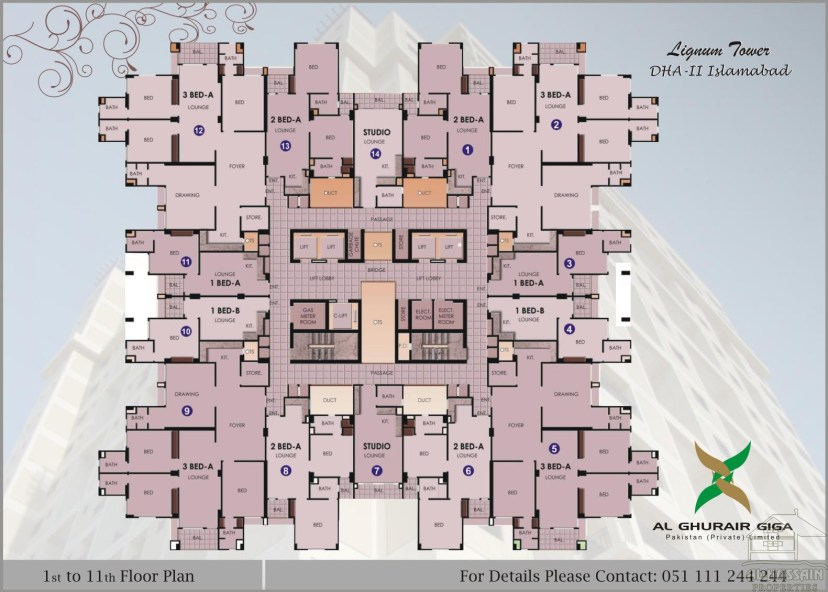 1 to 11th floor Plan