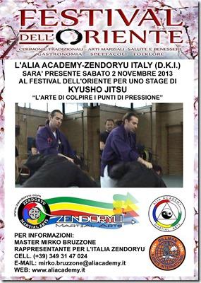 Alia Academy -Poster stage Kyusho Festival dell'Oriente