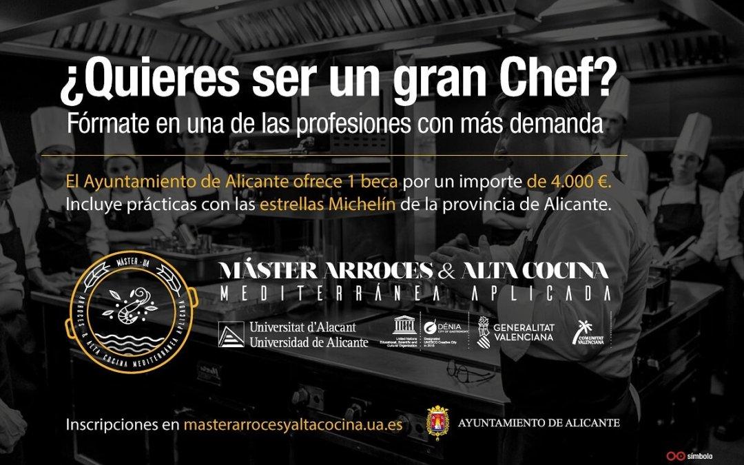 El Ayuntamiento ofrece una beca de 4.000 euros para la línea de investigación en el Máster Arroces y Alta Cocina Mediterránea Aplicada de la UA