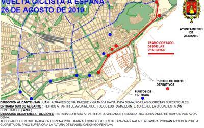 Aviso por  cortes de tráfico durante el paso de la Vuelta Ciclista por Alicante, el lunes 26 de agosto 2019