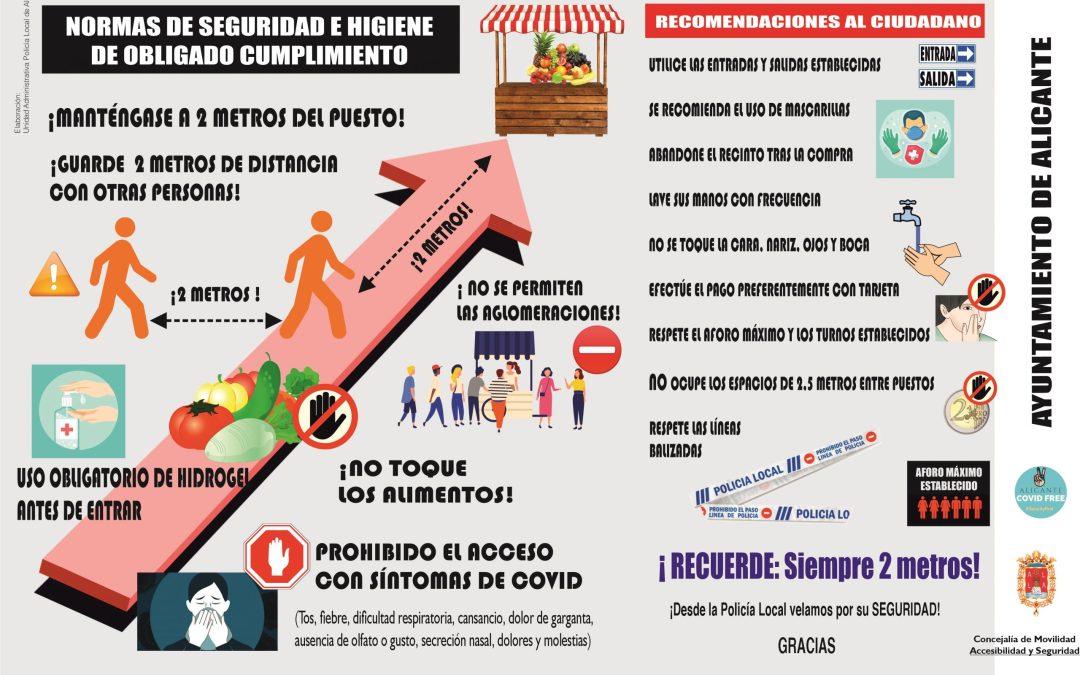 El Ayuntamiento de Alicante abre esta semana los mercadillos para la venta exclusiva de alimentos con estrictas medidas de Seguridad