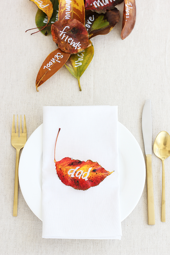 Last minute Thanksgiving decor idea with leaves