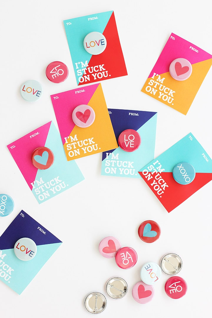 Valentine Buttons with Free Printable   alice & lois
