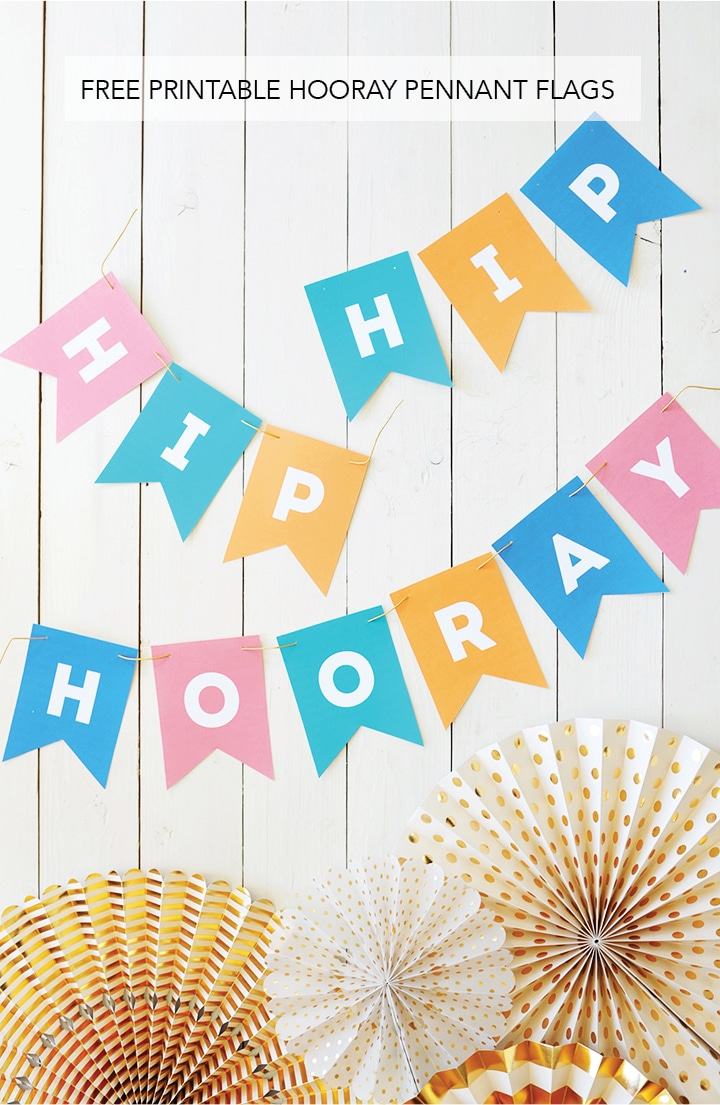 Make this Hip Hip Hooray banner for your next party. Just download and print out these free printable Hooray Pennant Flags!