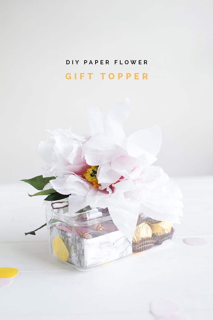 DIY Paper Flower gift topper from Fall for DIY