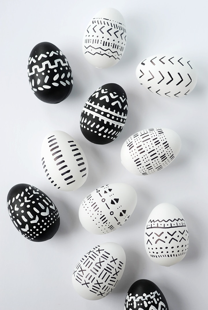 DIY mud cloth inspired Easter eggs