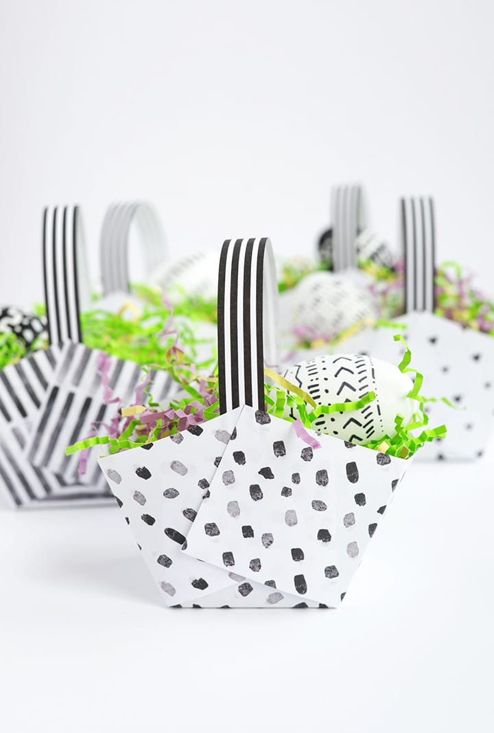Make these adorable Modern DIY Paper Easter Baskets with Free Printable in under five minutes!