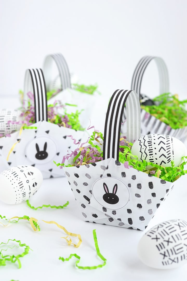 Free Printable Modern Paper Easter Baskets you can make in under five minutes!