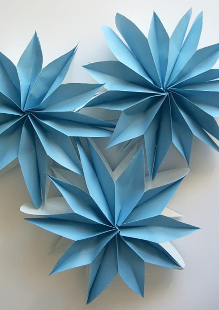 DIY blue paper bag flowers