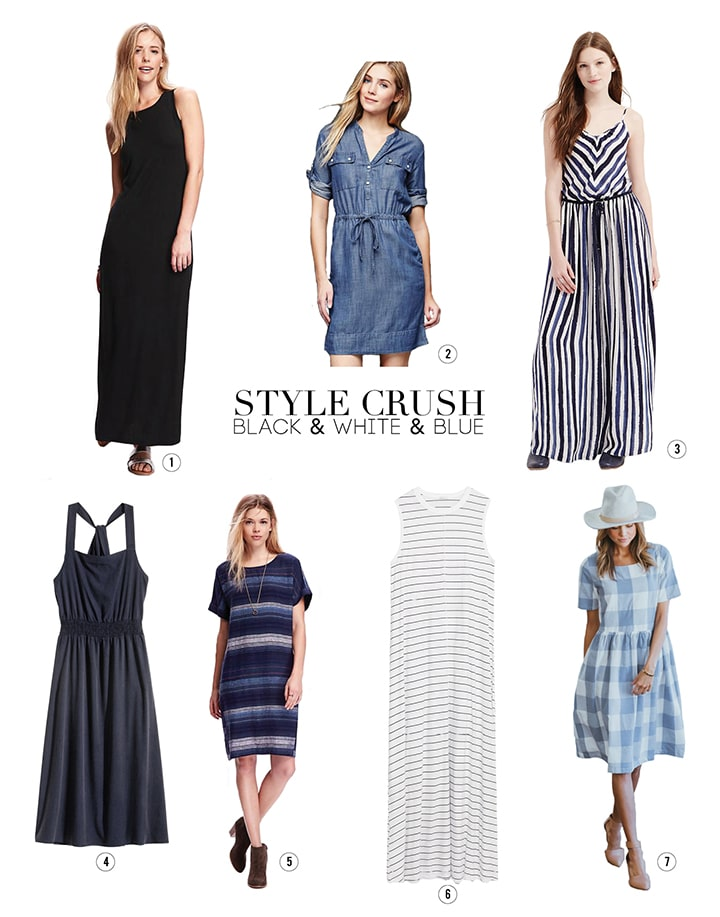 Favorite spring dresses in black and white and blue!