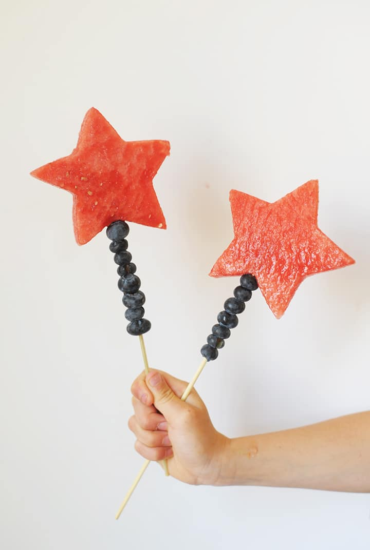 Make these Fourth of July Watermelon Wands with the kids this July 4 for a healthy and fun treat!