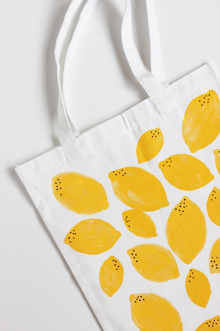 DIY Stamped Lemon Tote Bag