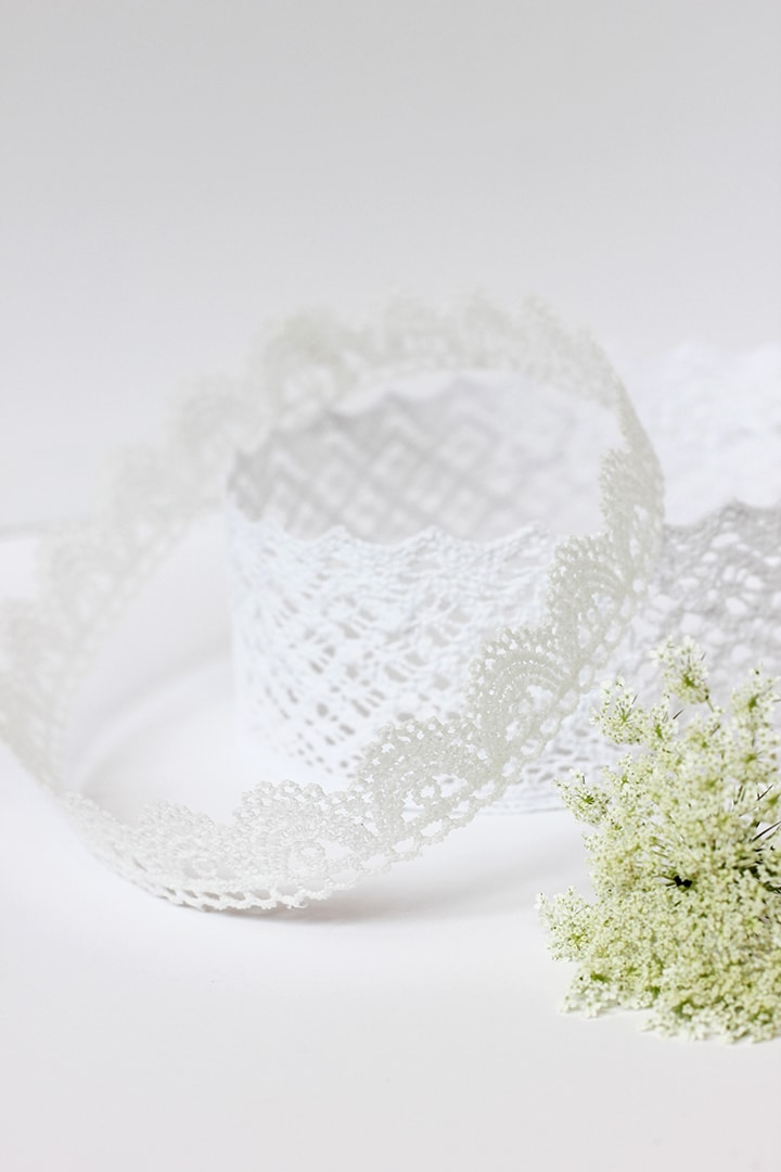 Make this simple DIY lace crown for a party or bridal shower.