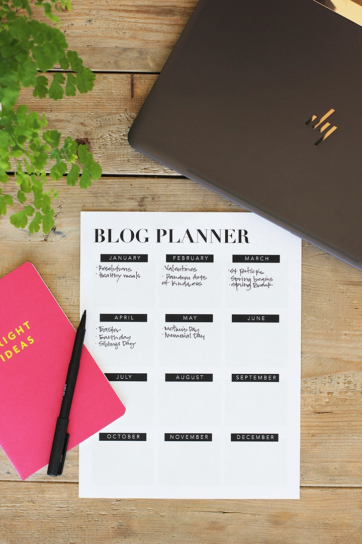 Use this Free Printable Blog Planner to generate content ideas for the entire year!
