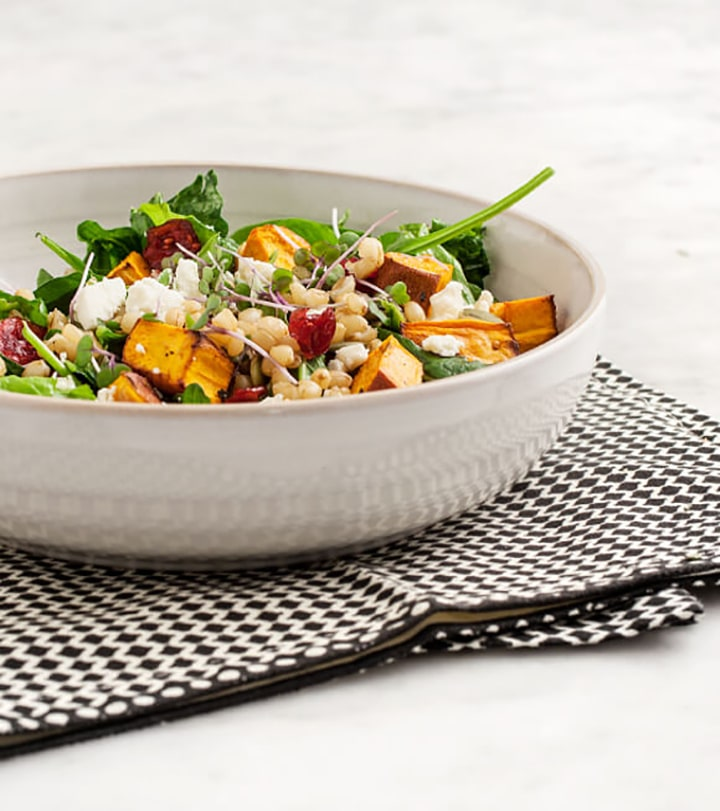 Favorite fall salads to try like this Sweet Potato Wheatberry Salad recipe