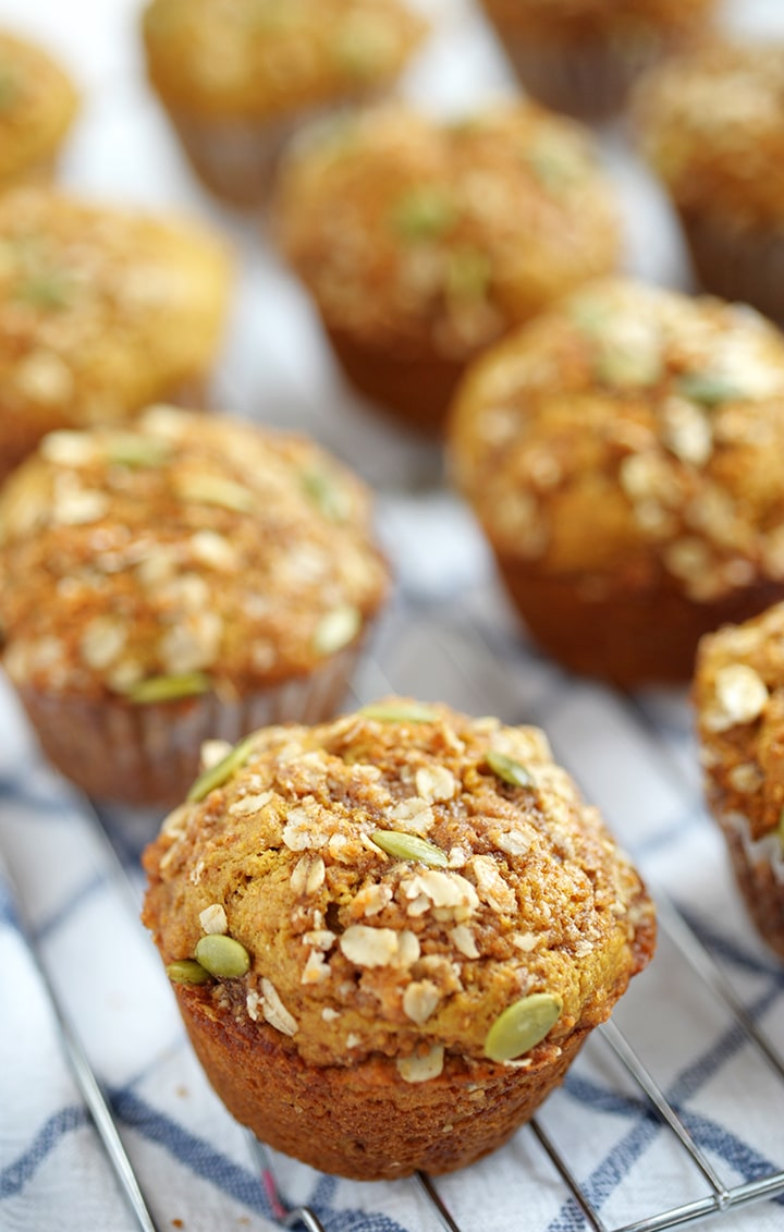 A healthier take on fall's favorite Pumpkin Muffin recipe.