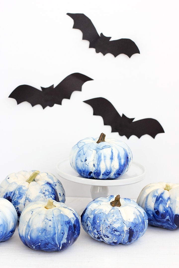 DIY Marbled Indigo Pumpkins