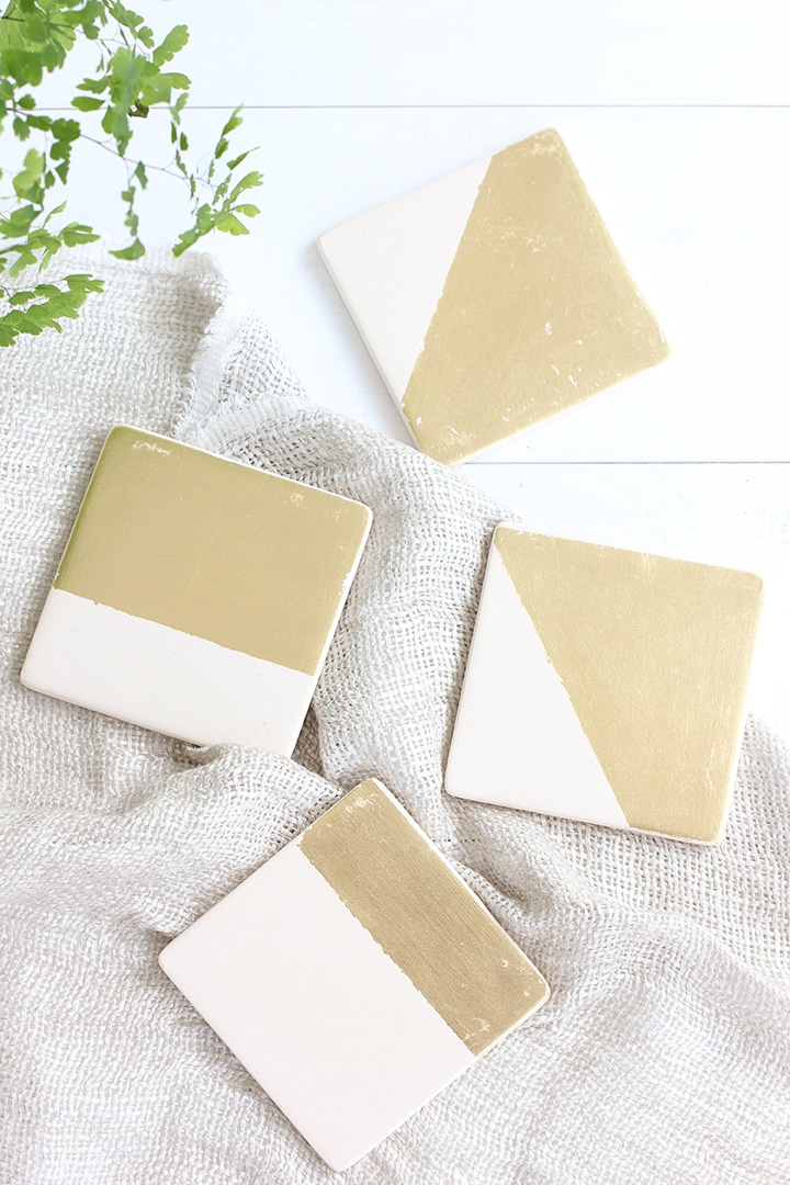 DIY Gold Leaf Coasters and Tray