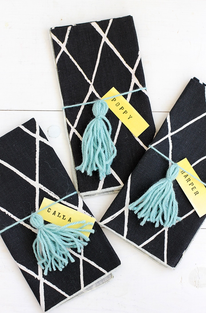 DIY Yarn Tassel Napkin Ring