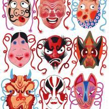 Masques japonais, acrylique. Alice Heit 2005.