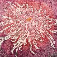 """""""chrysanthème Japonais"""", eau forte sur zinc (détail)"""