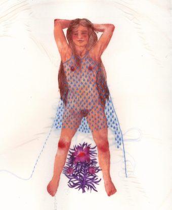 """""""la robe de pluie"""", pointe sèche imprimée sur soie et rehaussée de broderies au fil de soie."""