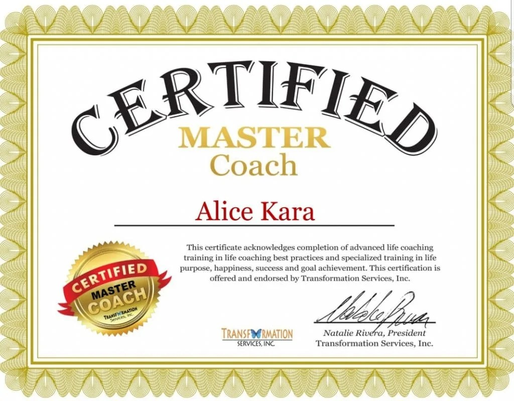 Certificat de formation Life Master coaching d'Alice Kara, coach de vie