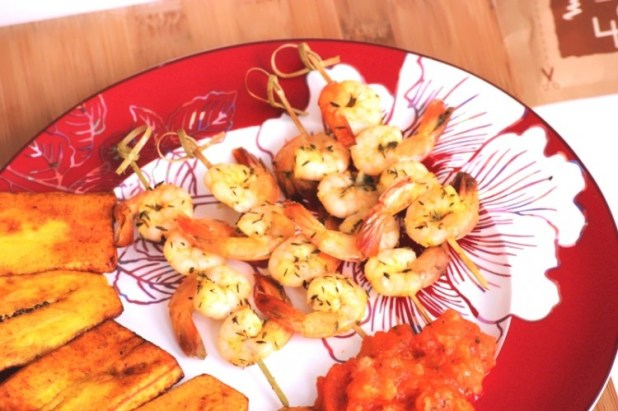 Brochettes de crevettes thym et orange (11)