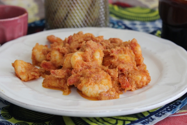 crevettes sautées njansan et huile de coco