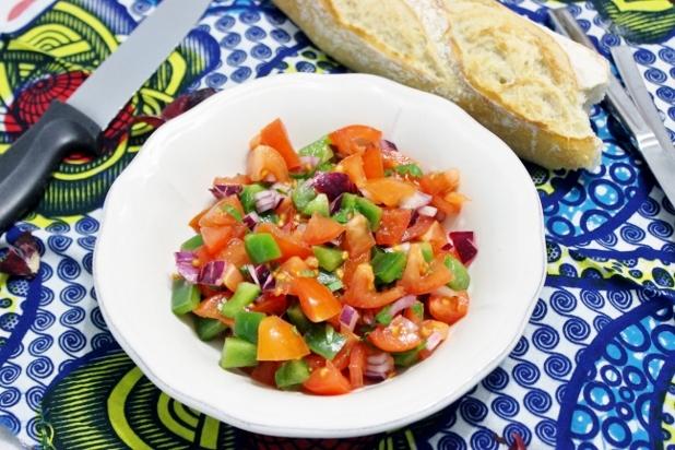 Crevettes-sautées-et-Salsa-de-tomates