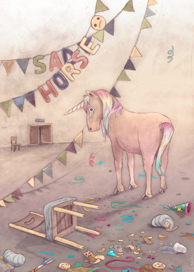 Sad horse (sad unicorn)