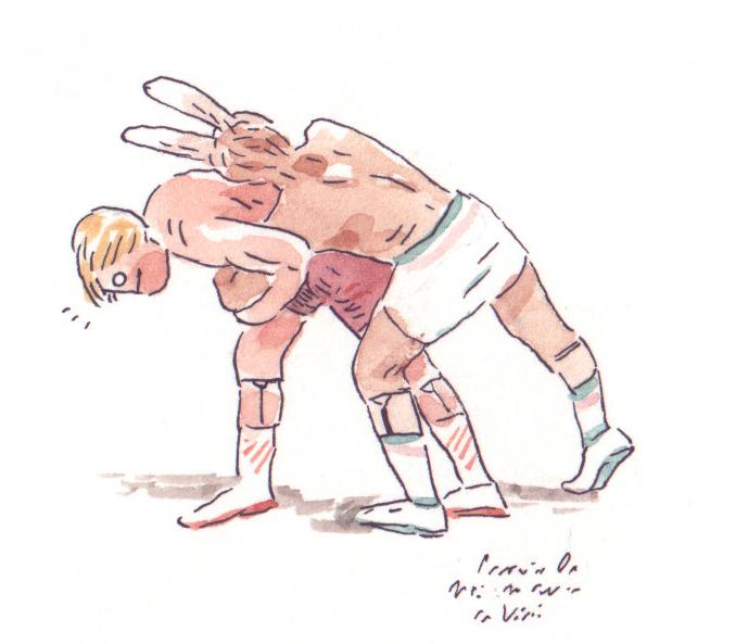 wrestler, illustration, watercolors